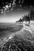 Cave Point Shoreline - black and white